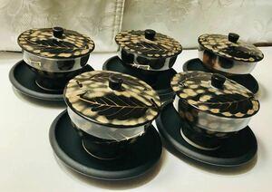有田焼 昭和 陶器 モダン 陶器 蓋付き 湯呑み 茶托 金 葉 アンティーク