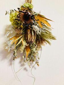 Handmade◆ドライフラワー◆スワッグ◆壁飾り◆プロテア3種 botanical swag◆立体的ボリュームあり◆50㎝***