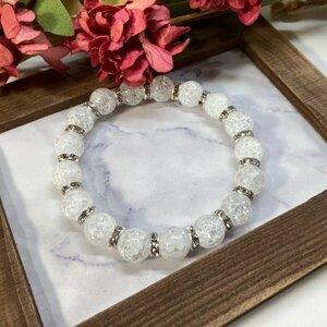 Crack Crystal Power Каменный браслет 10 мм натуральный камень Дыхание (серебро) Несколько лучших благословений Мужские женские женщины, к счастью, очистки
