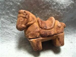 【福】 馬型はにわ香合 埴輪午 ハニワうま ウマ  土人形 郷土玩具