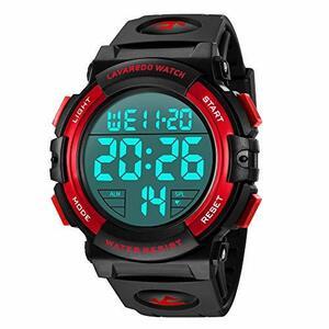 Senors 3-レッド 腕時計 メンズ デジタル スポーツ 50メートル防水 おしゃれ 多機能 LED表示 アウトドア