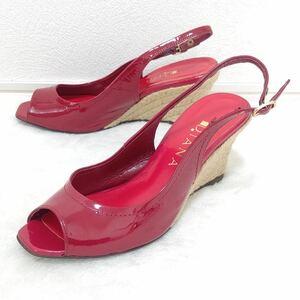 【DIANA】ダイアナ エナメル スリングバッグ ウェッジ ストラップ オープントゥ 7cmヒール 赤 レッド パンプス サンダル 靴 23.5cm /47JD