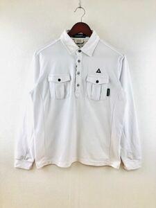 Le coq sportif ルコック スポルティフ メンズ 長袖ポロシャツ ホワイト Mサイズ ゴルフ 長袖シャツ golf 吸水速乾 機能素材