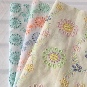 花刺繍 コットンレース生地 刺繍レース 綿レース 刺繍生地 国産刺繍 ハギレ