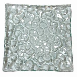 プルメリア クリアガラスプレート 18cmX18cm【メール便OK】 【 プルメリア デザートプレート ガラス お皿 小皿 花柄】YSA-280223