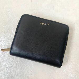 アニエスベー 折り財布 二つ折り ラウンドファスナー レザー 黒 ロゴ 型押し ゴールド金具 コンパクト ミニウォレット
