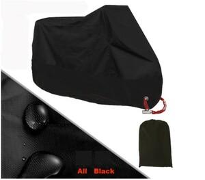 【黒×黒】大人気!Mサイズ バイクカバー オートバイ 収納袋付き 雨・風 予防 紫外線・太陽光ガード 台風対策 防水 ほこり