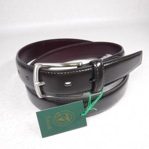 V575 Stick スティック 新品 濃茶 チョコ 微光沢コードバン調ガラス牛革レザーベルト/ビジネススーツ最適