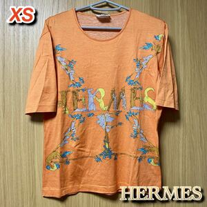 ★売り切り価格★ HERMES エルメス アニマル ロゴ コットン Tシャツ 半袖 オレンジ レディース 大人気 お買い得