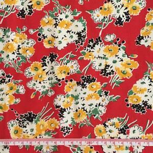 USAコットン デイジー花束柄 カットクロス 33cm幅×52cm レッド moda fabrics社 アメリカンキルト 未使用