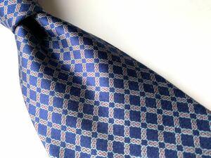 【美品】KIMIJIMA COLLECTION キミジマ コレクション ネクタイ ネイビー 紺 チェーン柄 日本製