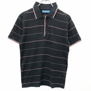 HAMNETT ハムネット M メンズ(レディース?) ポロシャツ カットソー Tシャツ生地 ボーダー 半袖 フライフロント 日本製 綿100% 黒×赤×白
