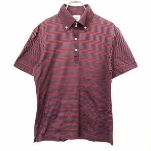 TAKEO KIKUCHI タケオキクチ 2 メンズ ポロシャツ カットソー Tシャツ生地 ボーダー ボタンダウン 半袖 日本製 綿×ポリ ボルドー 赤系
