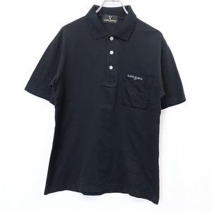 CLAUDIO VALENTINO - M メンズ ポロシャツ カットソー 鹿の子 胸ポケットにロゴ刺繍 半袖 ショートスリーブ 日本製 綿100% ブラック 黒