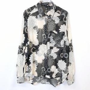 H&M エイチアンドエム 10 レディース 薄手 シースルーシャツ 花柄 フラワー フライフロント 長袖 ポケット ポリエステル100% ブラック 黒