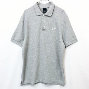 NIKE ナイキ XXL メンズ 男性 ポロシャツ カットソー 鹿の子 ロゴ スウォッシュ 刺繍 半袖 ショートスリーブ 綿100% ヘザーグレー 杢灰色