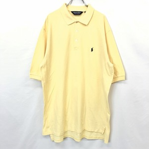 POLO GOLF RALPH LAUREN ポロゴルフ ラルフローレン XL メンズ ポロシャツ カットソー ビッグポロ 鹿の子 半袖 綿100% イエロー 黄色