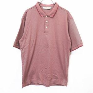 LYNX リンクス M メンズ 男性 ポロシャツ カットソー Tシャツ生地 ボーダー 左袖にロゴ刺繍 半袖 日本製 綿100% ダークピンクレッド系