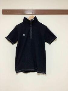 へ782 R.NEWBOLD アールニューボールド レディース 半袖ポロシャツ L ハーフジップ ブラック ロゴ刺繍