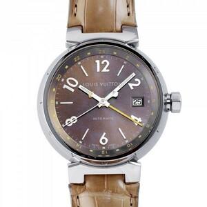 ルイ・ヴィトン LOUIS VUITTON タンブールGMT Q1132 ブラウン文字盤 中古 腕時計 メンズ