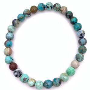天然石クリソコラ(珪孔雀石)AA6mm玉のブレスレット-021
