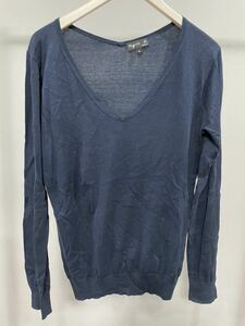 agnes b. アニエスベー フランス製 Vネックニットセーター 長袖トップス紺レディース