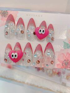 ネイルチップ つけ爪  パールピンク かわいいネイル サイズ変更可能 N289