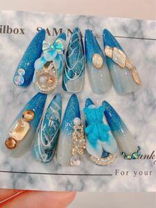 ネイルチップ 付け爪 手作り かわいいネイル ブルーネイル N307