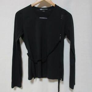 Y-3 ワイスリー 長袖 Tシャツ トップス ロンT Uネック ロゴ 3ストライプ Sサイズ ブラック 黒 adidas yohji yamamoto ヨウジヤマモト