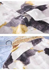 リネン100% 七分袖 シャツ 新品 メンズ 亜麻 サマー 清涼感 半袖シャツ 迷彩柄 立襟 麻 カジュアル イエロー系