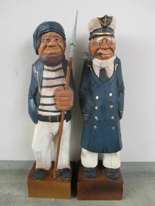 マドロス人形 約60センチ 2体 船乗り 船長 海賊 木彫り 昭和レトロ カフェ 店頭用