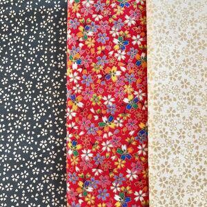 綿シーチング:芝桜と桜3色セット:生地幅×50:合計で1.5M:生地ハギレ