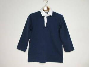 カナダ製 BARBARIAN バーバリアン レディースラガーシャツ 濃紺×白 ネイビー 正規品