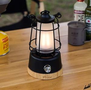 【異素材を合わせたお洒落なデザイン】 LED ランタン 無段階調光 調色 モバイルバッテリー機能 USB充電式 防水 防塵 キャンプ アウトドア