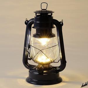 【オイルランタン風】 LED ランタン 調光機能 電池式 レトロ アンティーク インテリア キャンプ アウトドア 防災用ライト ネイビー