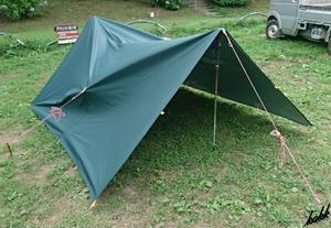 【すぐに使える一式セット】 スクエアタープ 400×300cm ポールセット 防水 遮熱 UVカット コンパクト ツーリング キャンプ グリーン