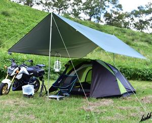 【オールシーズン使える一式セット】 スクエアタープ 500×300cm ポールセット 防水 遮熱 UVカット コンパクト キャンプ グリーン