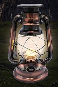 【ソーラー充電式アンティークランタン】 LED ランタン 無段階調光 コンセント充電 レトロ アンティーク インテリア 防災用ライト