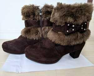 ★女の子 フェイクファー付きブーツ 22cm★女児靴リボン子供キッズKIDSショートブーツ ブラウン