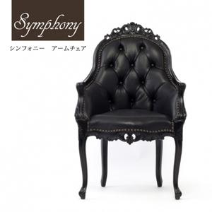 重厚感のある本革ハイバックチェア シンフォニー ロココ調 アームチェア 椅子 ブラック レザー 猫脚 可愛い 黒家具 6093-N-8L17B