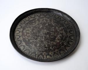 古銅製モール式 花鳥文 盆 47cm 煎茶道具 銅虫 金属工芸