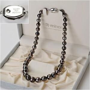 南洋黒蝶真珠 ブラックパール ネックレス 黒真珠 珠径約11.7~8.9mm 長さ44cm アクセサリー