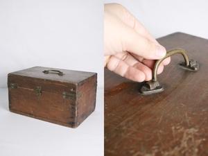 TB526真鍮金具の木箱 ビンテージ ウッドボックス◇小箱/BOX/収納/道具箱/小物入れ/インテリア/雑貨/容器/シャビー/古道具タグボート