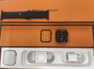 美品 AppleCare+ Apple Watch HERMES Series6 44mm 黒 ブラック エルメス スペースブラック ステンレス GPS+Cellular