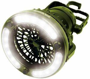 未使用送料無料  OUTDOOR MAN ライト&ファン LED 電池式 KK-00363 Peanuts clubピーナッツクラブ グリーン  キャンプ