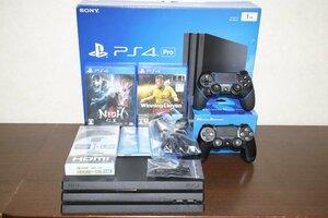【超美品 完動品】PlayStation 4 Pro CUH-7000B B01 1TB(No.176)NIOH(仁王),WinningEleven 2016 2本ソフト+1コントローラセット