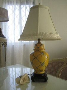 ヴィンテージ アンティーク フレンチシック ブルーおリボンデザイン シノワズリ 壺デザインランプスタンド シャビーシックスタイル