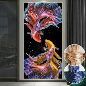 刺繍 クロスステッチキット DIY 図案印刷 壁アート インテリア 恋している鯉