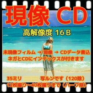 ★売筋NO.1商品 カラーネガフィルム現像 + 高解像度16Bでデータ化CD書込+Wインデックス(35ミリフルサイズ1本)