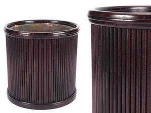 【夢工房】時代 唐木製 丸爐形 煎茶 瓶掛 火鉢 幅28.1㎝ 重さ2.4kg  XA-039